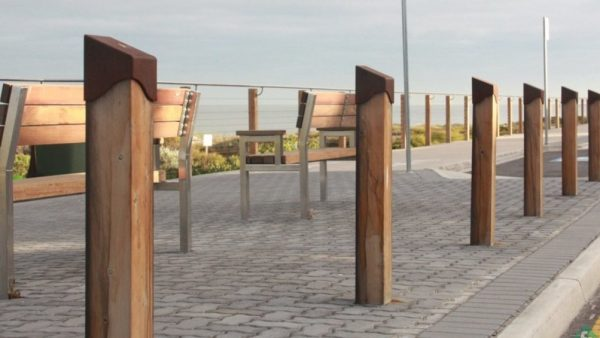 timber bollards and barriers along the beach side